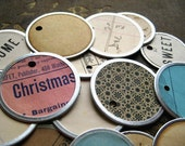 Vintage paper metal rim key tags, gift wrapping, packaging, tags
