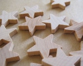 wooden stars, set of 22, one inch diameter