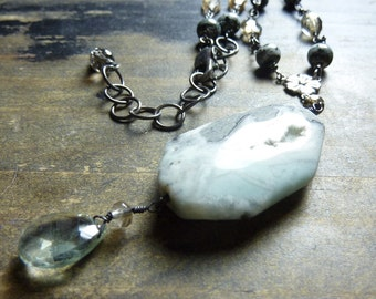 Amazonite Smokey Quartz Necklace handmade Beaded Sterling Silver Wire