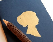 SALE screenprinted moleskine cahiers journal in navy blue (large), golden girl notebook LAST ONE