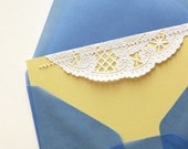 SALE handmade stitched lace notecards, lemon meringue (set of 12, wholesale) (discontinued)