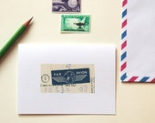 CYBER MONDAY SALE handmade vintage inspired notecards with retro air mail designs, par avion (set of 8)
