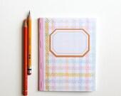 eco friendly handmade journal with screenprinted cover, rad plaid pocket notebook