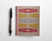 handmade screenprinted notebook with vintage paper, graphic leaves eco friendly journal