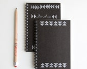 SALE mini notebook with hand stamped triangular design in black & white tribal pattern (LAST ONE discontinued)