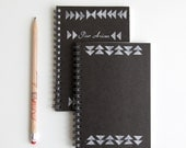 hand stamped mini notebook, triangulum (choose your pattern) - cutiepiecompany