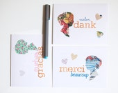 handmade thank you cards in french, spanish and german, lovely girls silhouettes (set of 6)