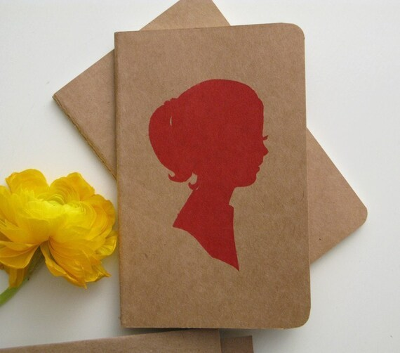 SALE screenprinted moleskine cahiers notebook journal, lady in red (LAST ONE- discontinued)