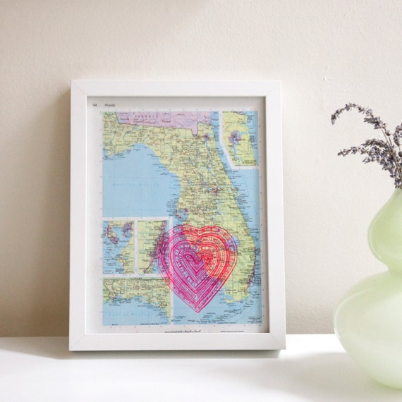 screenprinted vintage map of florida, neon pink heart print, i heart FL
