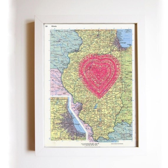 screenprinted vintage map of illinois, neon pink heart print, i heart chicago