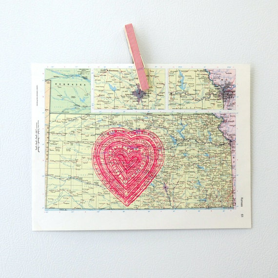 vintage map of kansas with neon pink heart screenprint, i love the heartland