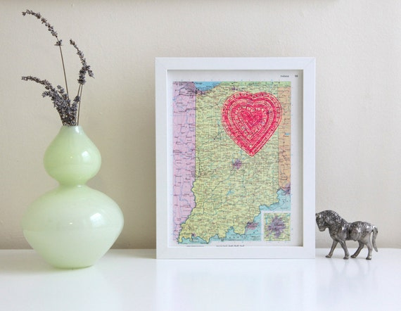 screenprinted vintage indiana map with neon pink heart print, i love the midwest