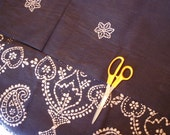 India batik sari, 7 yards 100% cotton. deep navy with white  floral and scrollwork details