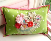Pillow, Flower Pillow,  Appliqued Pillow, Novelty Pillow, Appliqued Flowers, Fabric Scrap Pillow, Garden Pillow - No. 97