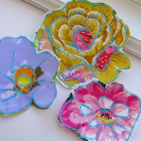 Stitched, Sewn Fabric Flower Embellishments, Appliques - Boho Blooms, Set of 3, No. 340