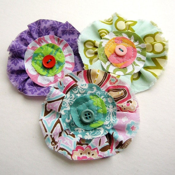 Fabric  Flower  Embellishments, Fabric Flowers, Flower Embellishment,  Appliques, Fabric Flower Supply  - Set of 3 -- No. 568