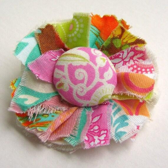Flower Pin, Fabric Flower Pin, Flower Brooch, Flower Accessory, Fabric Scrap Flower Pin, Fabric Brooch - No. 165