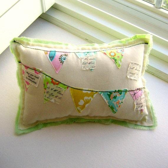 Pillow, Pennat Pillow,  Appliqued Pillow, Novelty Pillow, Appliqued Flags, Bunting, Pennant, Banner Pillow - No. 76