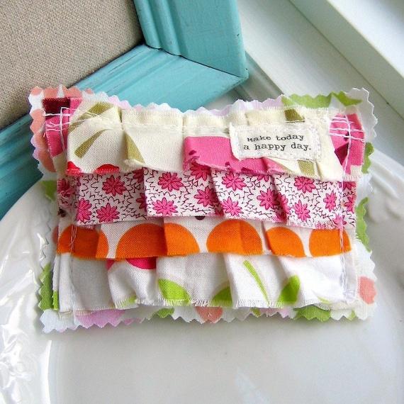 Lavender Sachet,  Small  Pillow Sachet, Appliqued, Flower Sachet, Word Sachet, Lavender, Sachet, Ruffle Sachet. No. 189