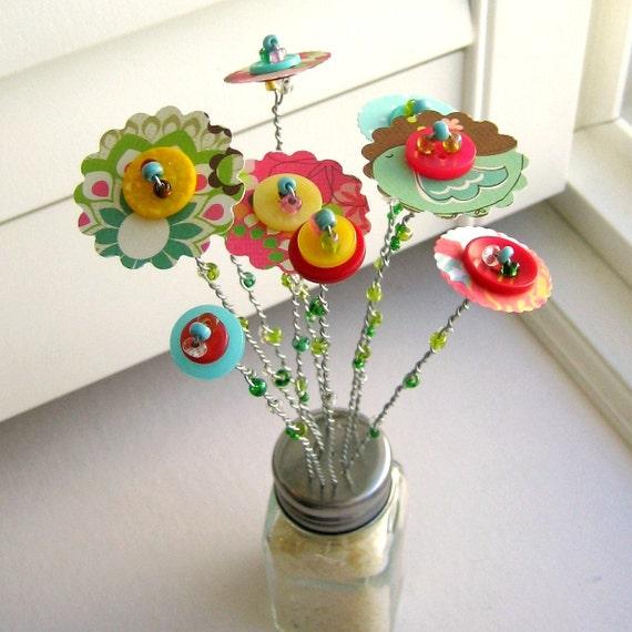 Flowers, Button Flowers, Flower Arrangement, Bouquet, Flowers in Vase, Centerpiece, Paper Flowers, Home Decor, Flower Vase, No. 58