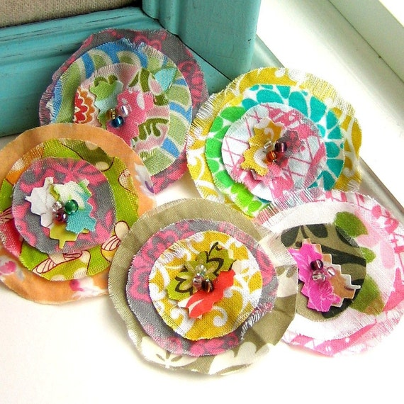 Flower Embellishments, Fabric Flowers, Fabric Embellishments, Scrapbook Flowers,  Scrapbook Embellishments, Set of 5 - No. 675