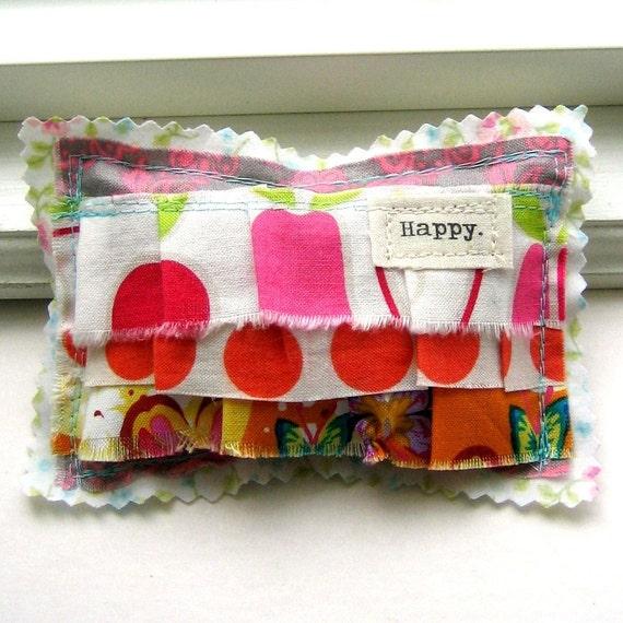 Lavender Sachet,  Small  Pillow Sachet, Appliqued, Flower Sachet, Word Sachet, Lavender, Sachet, Ruffle Sachet.  Happy - No. 204
