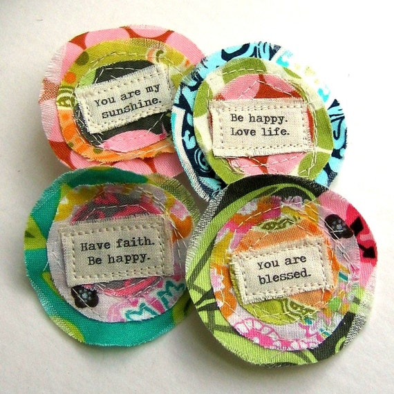Fabric Flower Embellishments, Flower Appliques, Scrapbook Flowers,  Scrapbook Words, Spring Scrapbook, Spring Flowers -  Set of 4 - No. 708