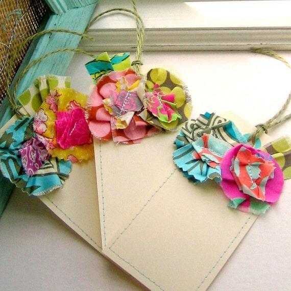 Gift Tags, Flower Tags, Flower Gift Tags, Fabric Flower Tags, Sewn Gift Tags, Sewn Fabric Tags -  Set of 3, No.77
