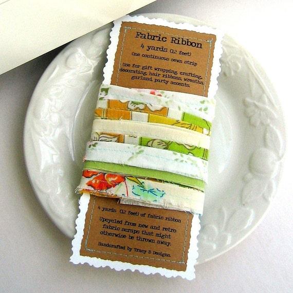 Ribbon, Fabric Ribbon, Sewn Fabric Ribbon, Frayed Fabric Ribbon, Fabric Ribbon by the Yard, 4 Yards - No. 78