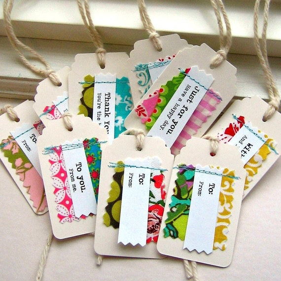 Gift tags tags paper and fabric gift tags sewn fabric tags for Handmade useful items
