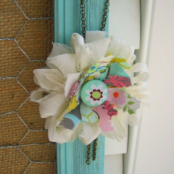 Flower Necklace, Fabric Flower Necklace, Shabby Necklace, Flower Pendant on Chain, Vintage Style Necklace - No. 100
