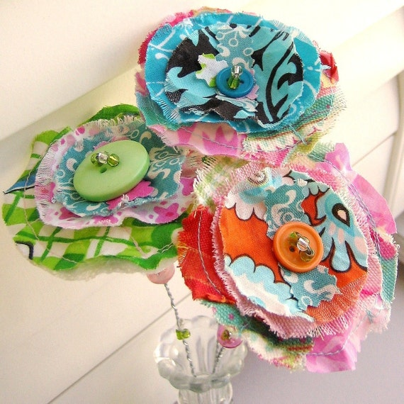 Fabric Flower Arrangement , Les Scraps La Fleur,  3 stems, No. 20