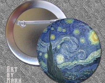 Van Gogh Starry Night  1.25 inch - Pinback Button