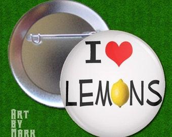 I Love Lemons - Pinback Button