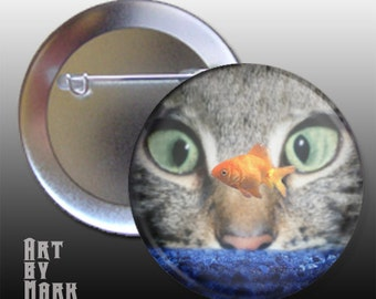 Cat Looking At Goldfish Pin Back Button