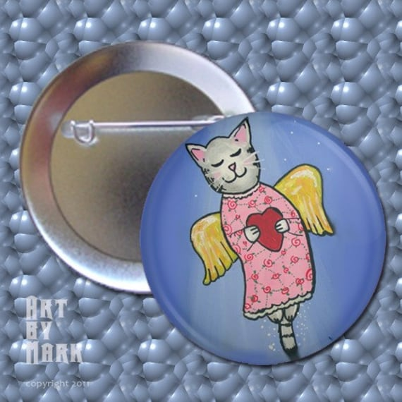 Flying to Rainbow Bridge   cute cat kitty  Pinback Button