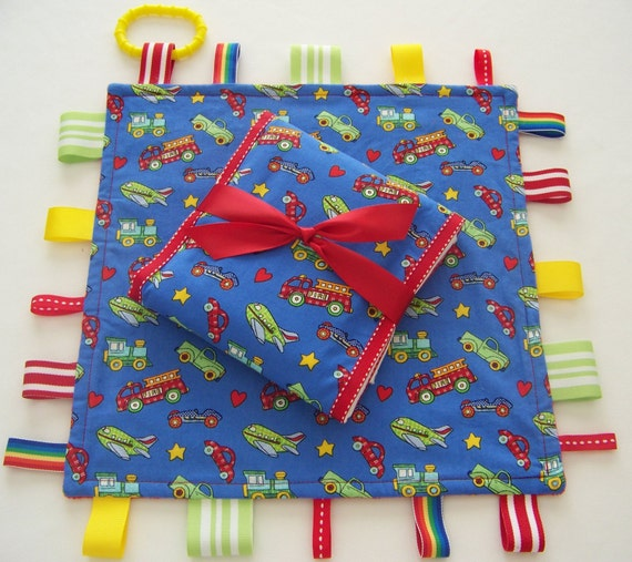 Ribbon Lovey and Burp Cloth Set-Planes, Trains and Automobiles