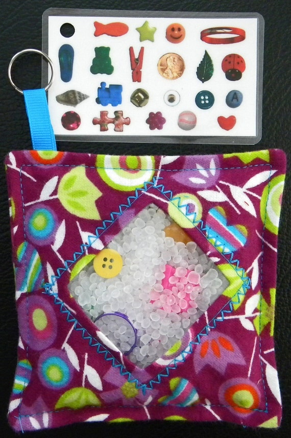 I Spy Bag - Mini with Sewn Word List and Detachable Picture/Word List- Flower Fest READY TO SHIP