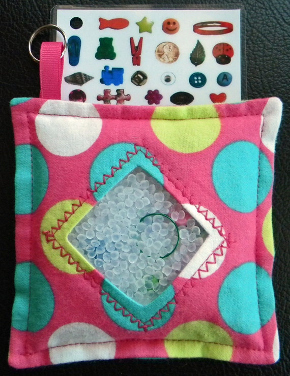 I Spy Bag - Mini with Sewn Word List and Detachable Picture/Word List- Large Polka Dots