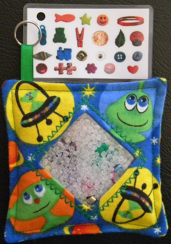 I Spy Bag - Mini with Sewn Word List and Detachable Picture/Word List- Awesome Aliens