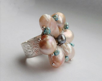 Pearl Flower Adjustable Statement Ring
