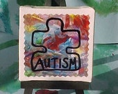 THE PURPLE STORM MINI CANVAS ON EASEL-DESK ART- by Ronan James (6 year-old artist) - AUTISM SUPPORT