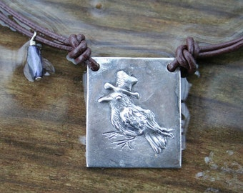 Crow Necklace, hand carved, Crow 7 - The Secret Keeper pendant - tophat crow