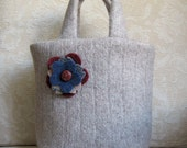 Oatmeal EMILY Mini Tote, Eco Friendly Upcycled Sweater Wool