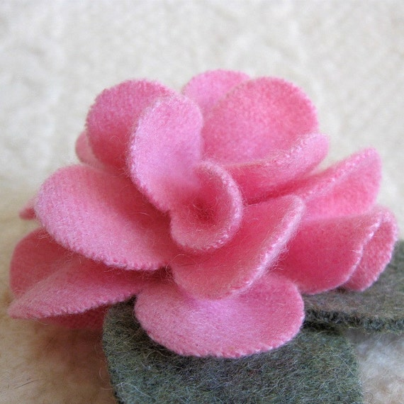 Pink Cashmere Peony Brooch - Eco Friendly Recycled Sweater Wool