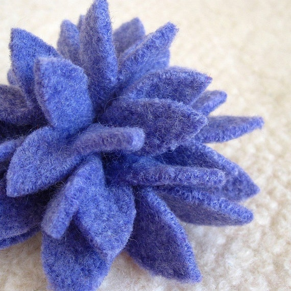 Lavender Dahlia Brooch, Eco Friendly Recycled Wool Sweater Flower Pin
