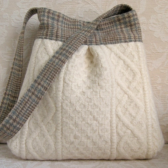 Ivory Cable Knit and Plaid Wool BELLA Purse, Upcycled Wool Handbag/Tote