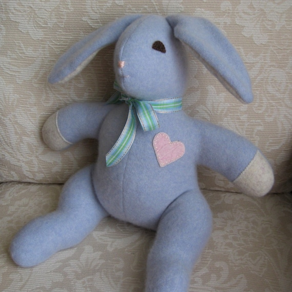 Luxe Plush Blue Bunny Eco Friendly Upcycled Cashmere Plush