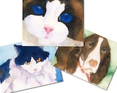 Cats and Dogs Notecards -- Buy 4 Get 1 Free