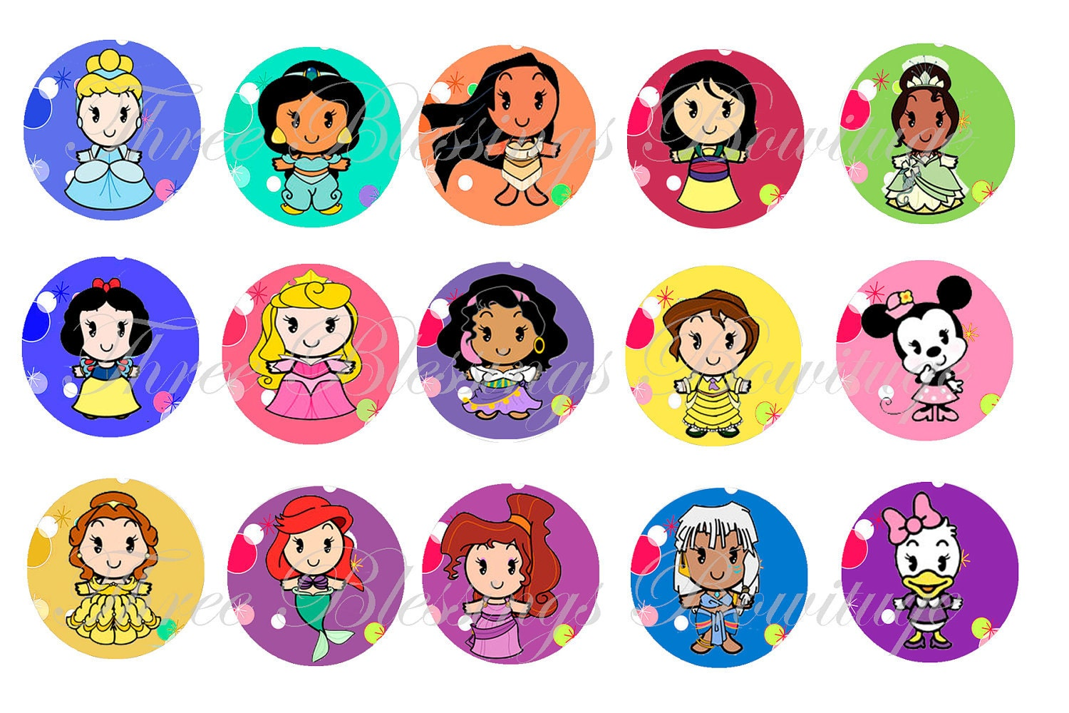 Disney Cuties Princess Girls Images Bottle Cap 1 Inch Inchies Disney Cuties Princess Printable